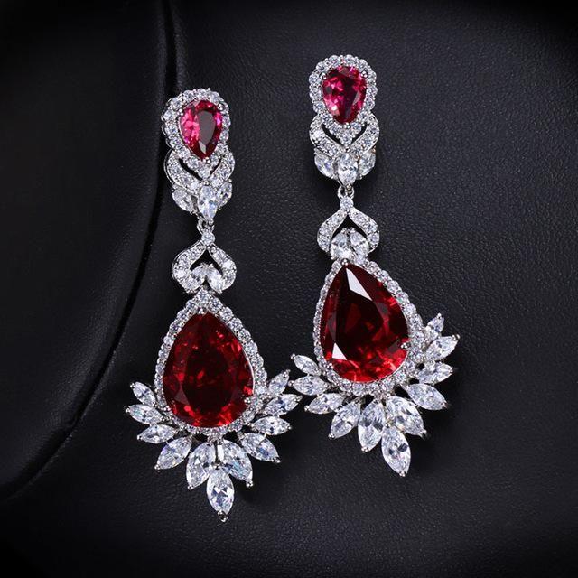 CWWZircons Elegent Evening Dinner Part Wedding Jewelry Luxury Long CZ Crystal Big Drop Dangle Earrings For Brides CZ055 – red