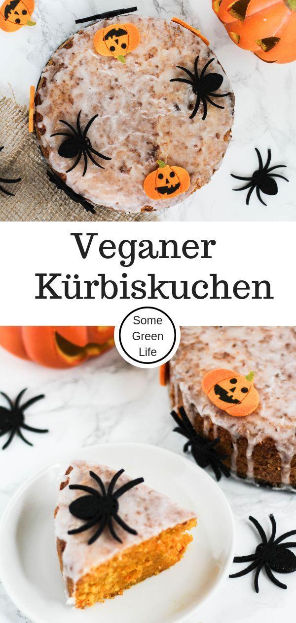 veganer halloween Kürbiskuchen #halloweenkuchen