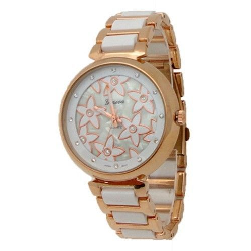Limited Edition Ladies Rose Gold & White Flower Metal Watch w/ Lab Diamond LV Style