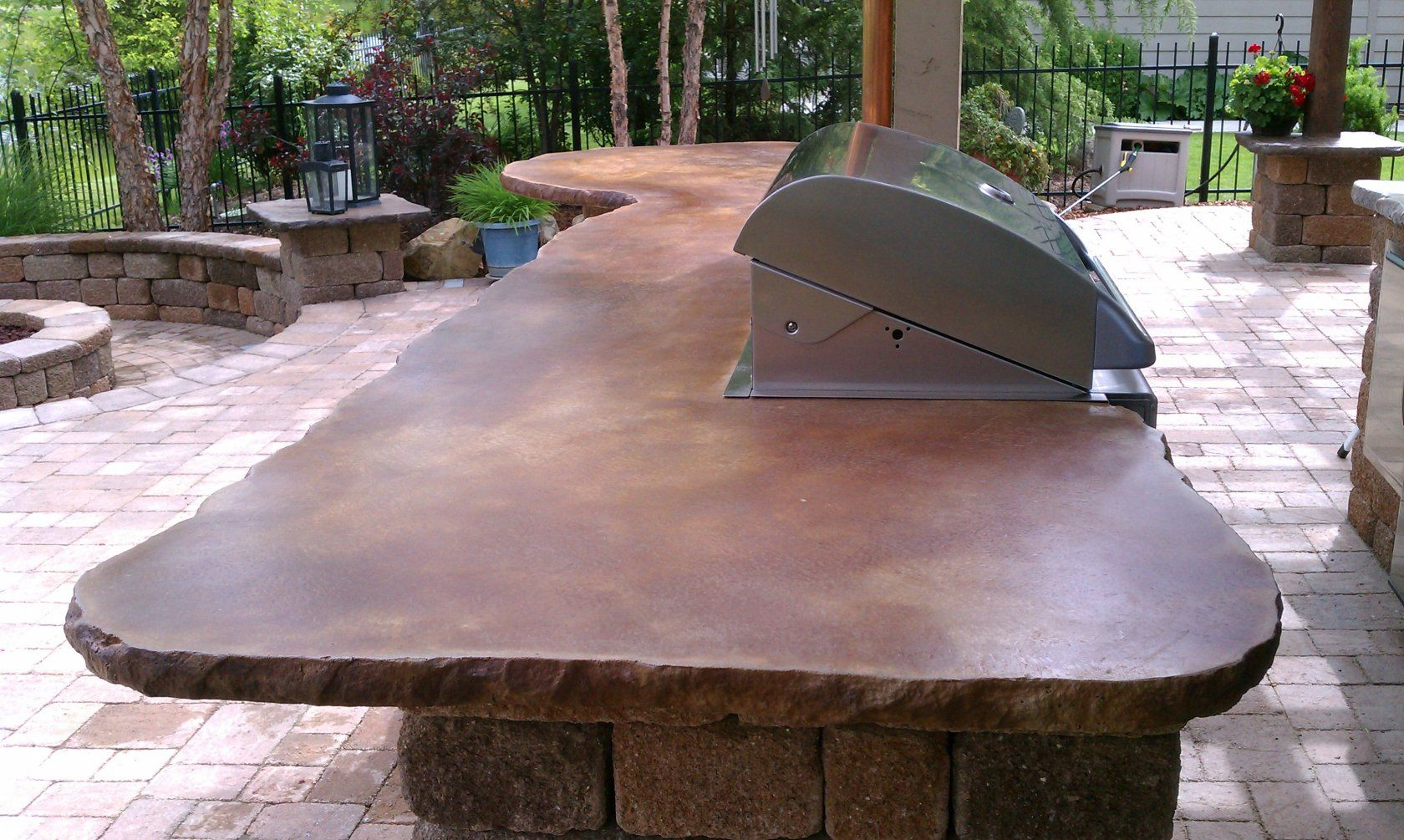 Cement countertops vivid acid stain kitchen for How to clean outdoor stained concrete