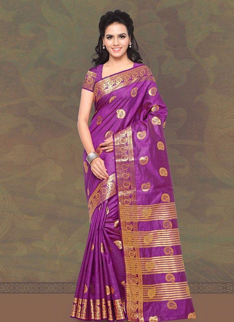 buy saree online Purple Colour Banarasi Silk Designer Saree Buy ...