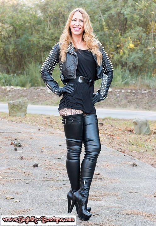 Sexy thigh boots and leather jacket