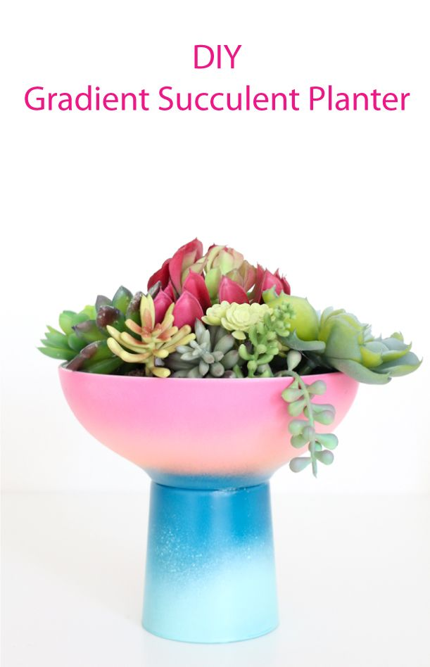 DIY Gradient Planter - ombre planter - ombre succulent planter - cacti - cactus - diy craft idea - cup and bowl - target style - modern planter diy