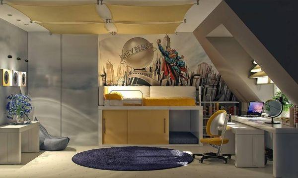 Etagenbett Dachschräge : Kinderzimmer dachschräge einrichten superman grau gelb hochbett