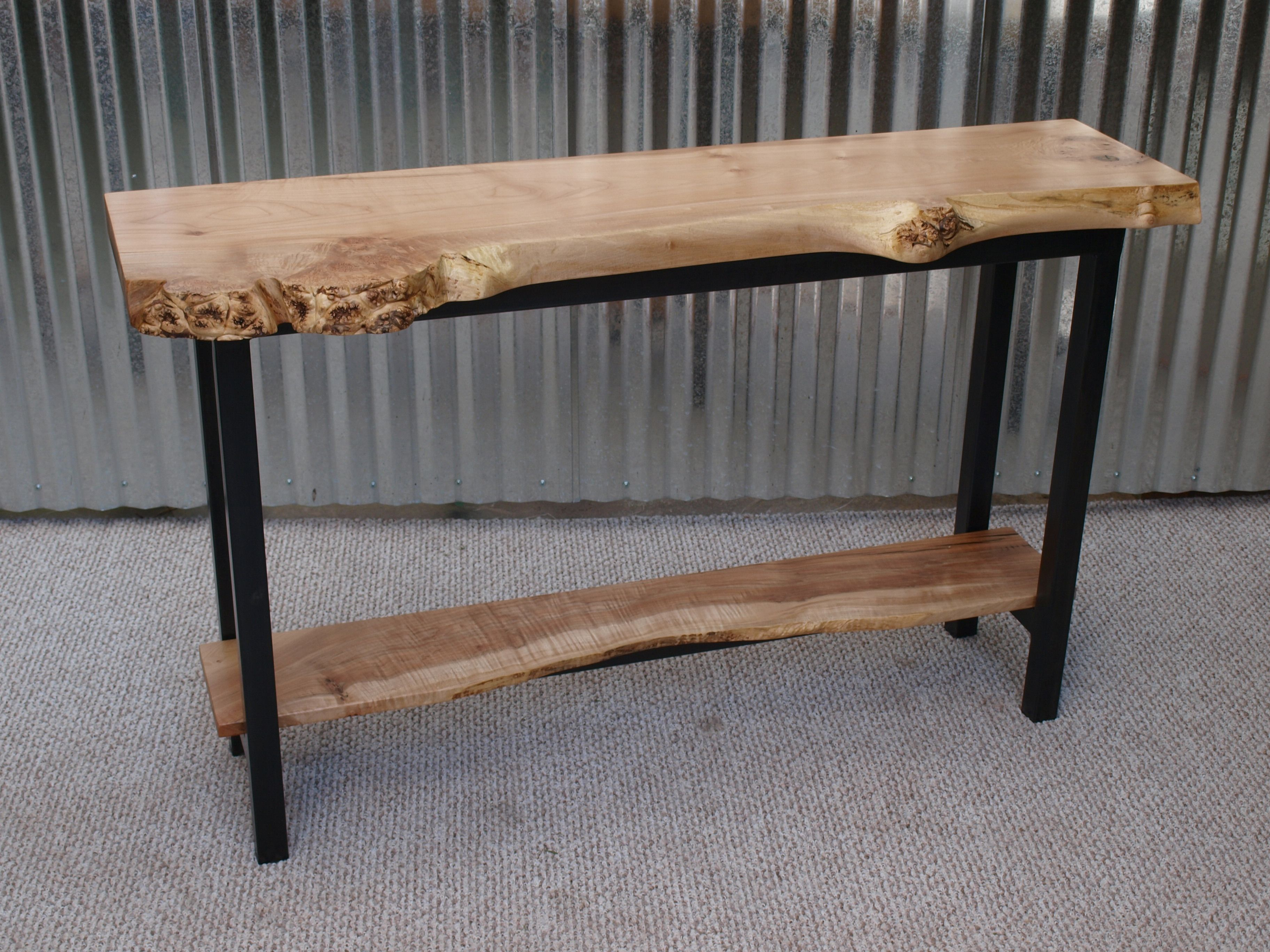 live edge maple sofa table with steel base  decor  pinterest  - live edge maple sofa table with steel base