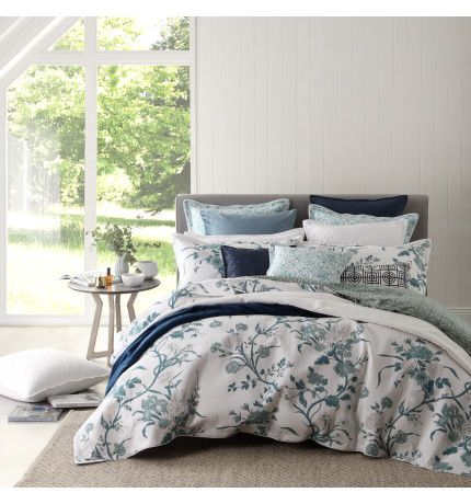 CARNATION JADE QUILTED COVER SET - SUPER KING | David Jones ... : quilt cover sets david jones - Adamdwight.com