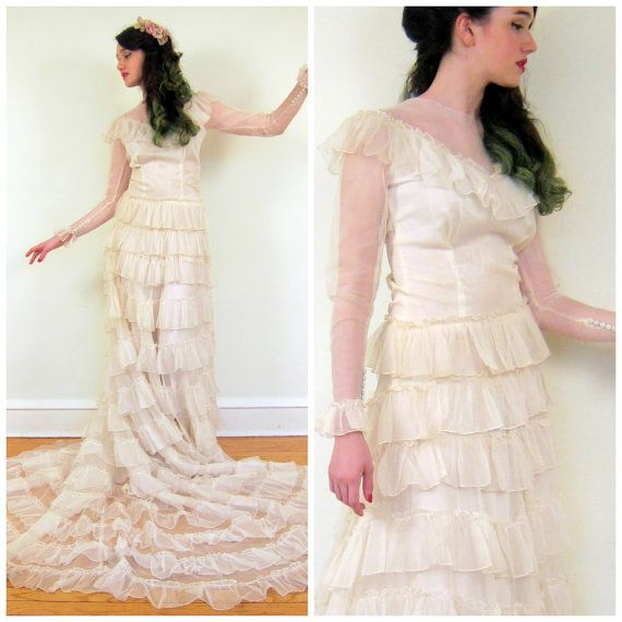 Vintage 1940s Bridgal Gown with Ruffles / 40s Ivory Long Sleeved ...