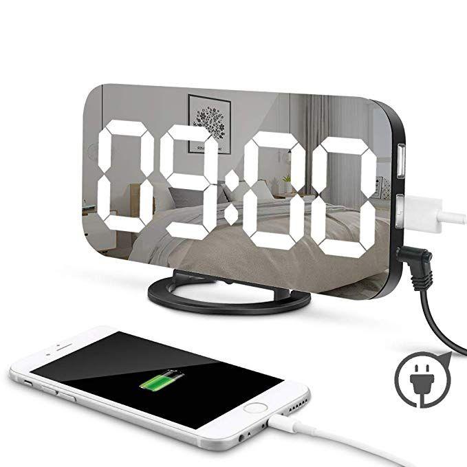 Moonorn Led Digital Alarm Clock 6 5 Large Digit Mirror Clock