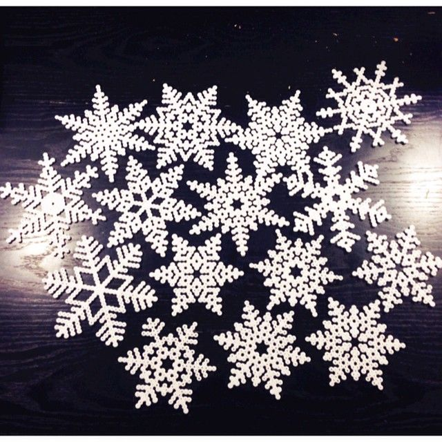 Snowflakes hama beads by Mille Lorentzen