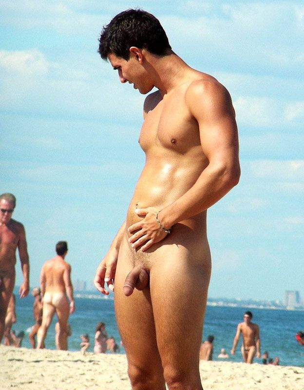 Beach gay man naked