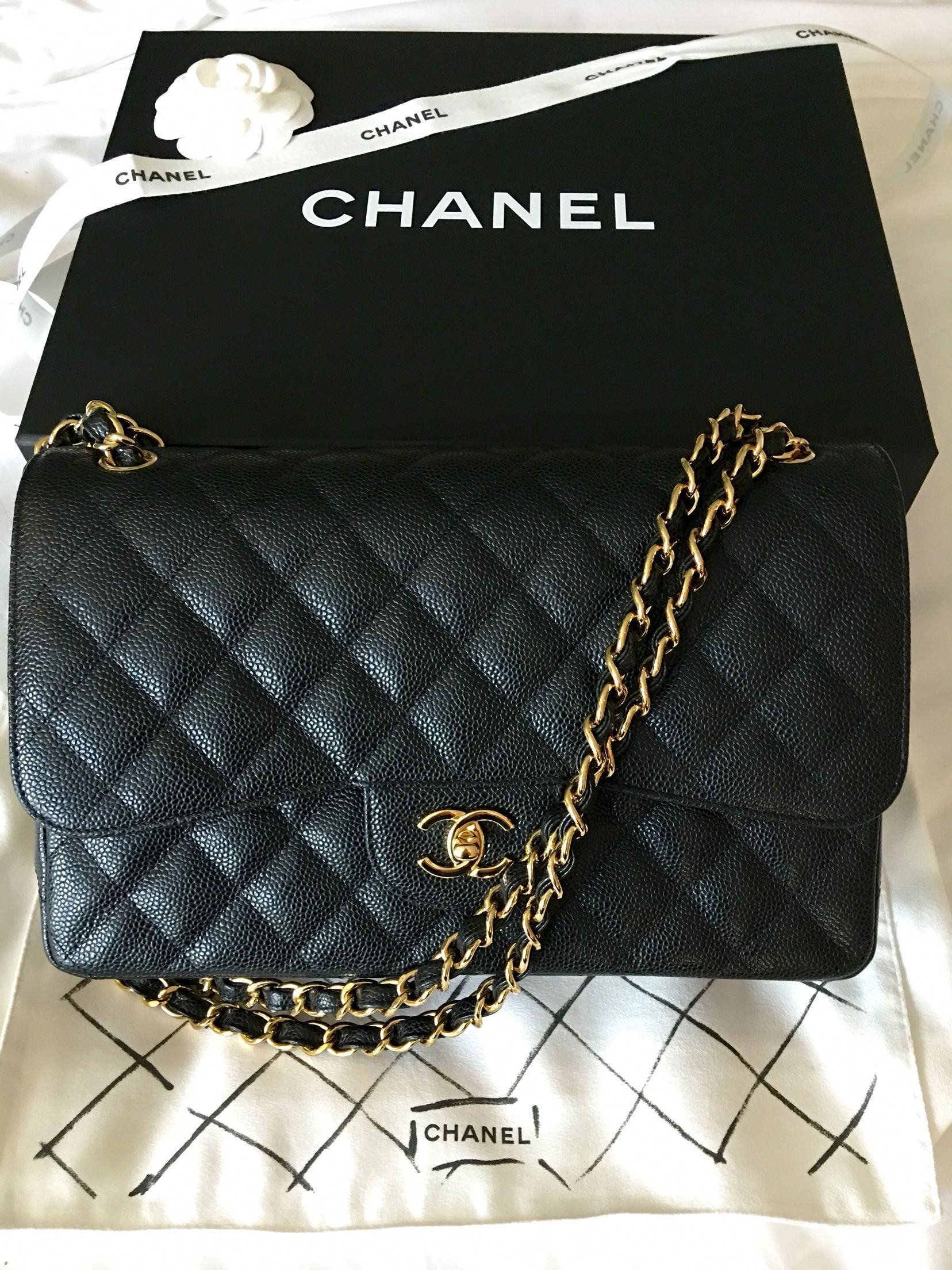 59243b285c05 Chanel 2.55 Caviar Medium Classic Double Flap Bag - black/gold | lll  Fashion lll | Chanel bag classic, Chanel quilted handbag, Vintage chanel bag