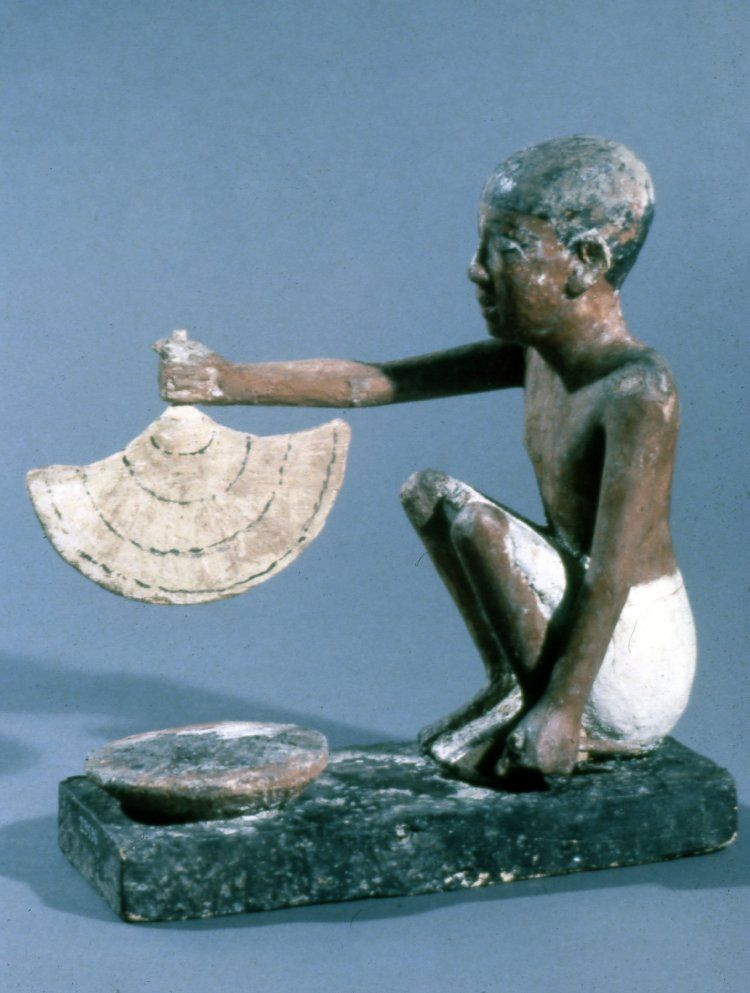 "ancientpeoples: "" Model of a man fanning a fire to heat food Found in Egypt Middle Kingdom (Source: The British Museum) """