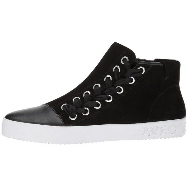Avec Les Filles Valerie (Black Kid Suede/Nappa) Women's Shoes (1.155 NOK) ❤ liked on Polyvore featuring shoes, sneakers, high top shoes, high-top sneakers, black suede shoes, black trainers and black laced shoes