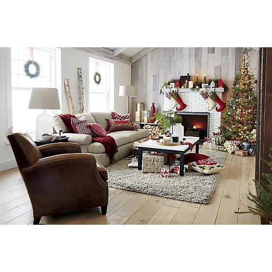 crate and barrel living room ideas. Christmas At Crate And Barrel - Love The Whitewash Wood Wall Living Room Ideas A