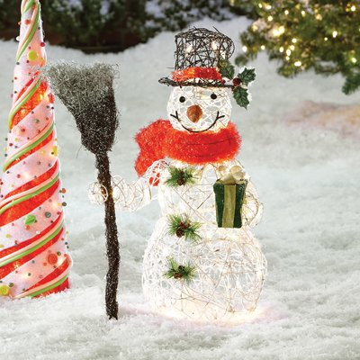 August Grove Snowman Christmas Decoration with Clear Lights Size 27 - outdoor snowman christmas decorations