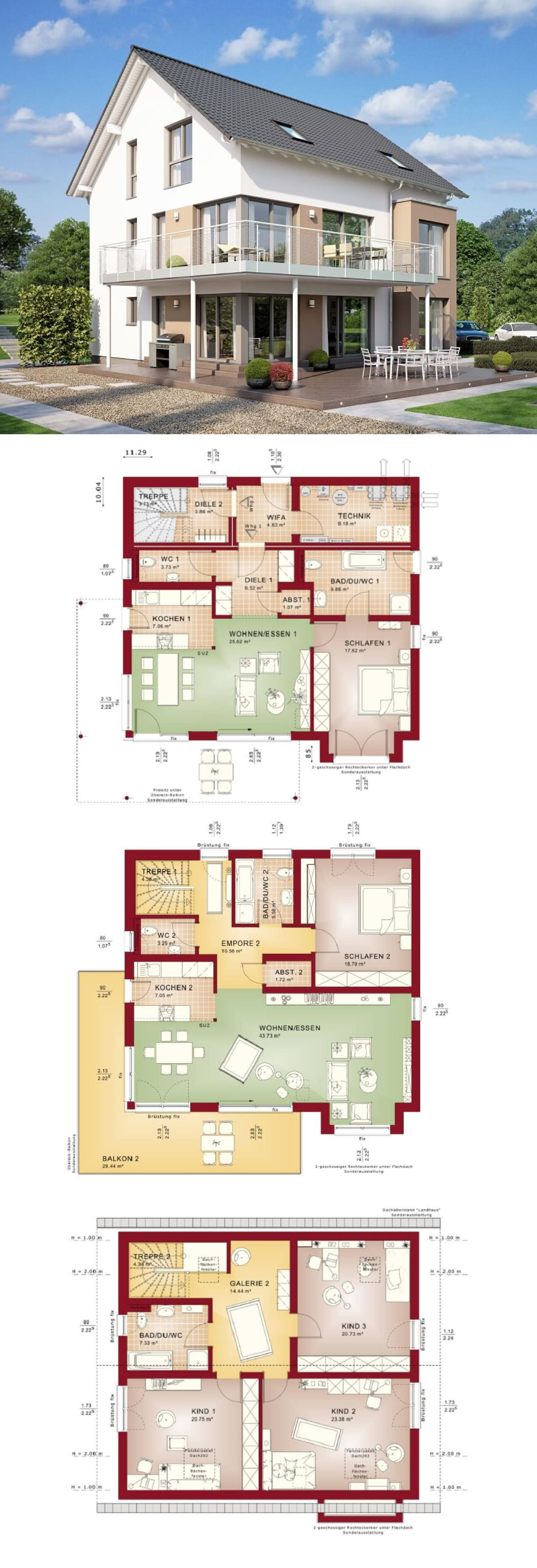 Ein rahmen zu hause design-ideen zweifamilienhaus mit satteldach und Übereckbalkon  grundriss haus