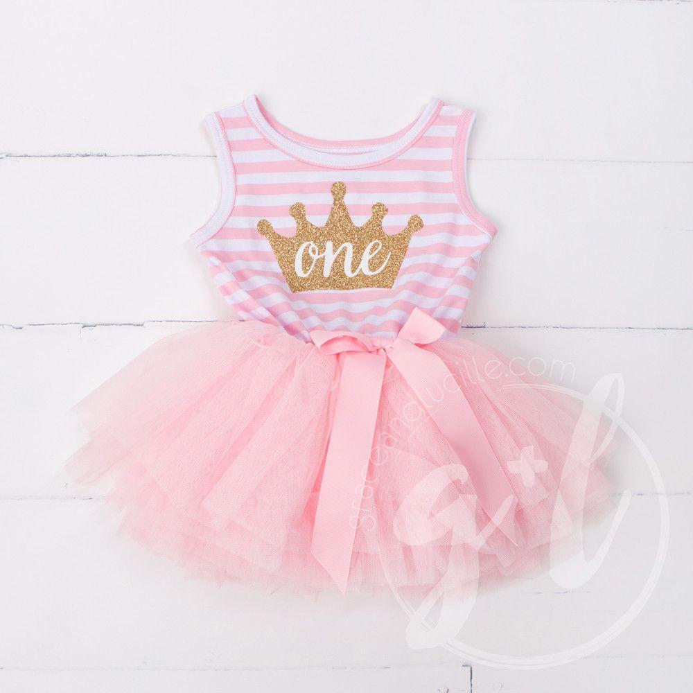 Toddler Baby Girl 1st Birthday Party Dress Newborn Baby Summer Tutu Princess Dresses Headband Infant Stripe Outfits Set