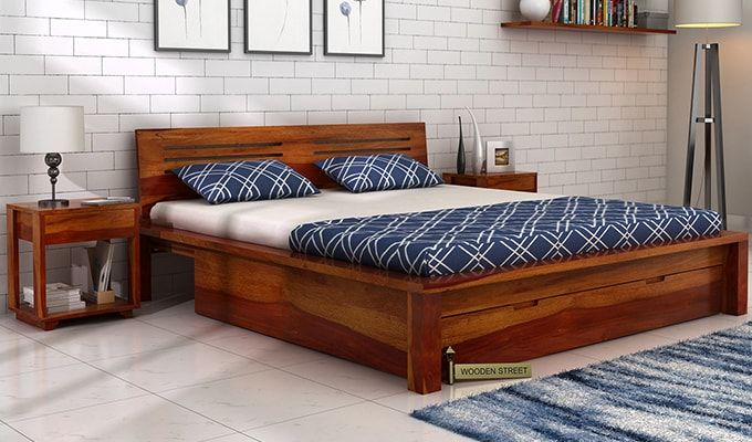 Buy Lynet Bed With Storage King Size Honey Finish Online In