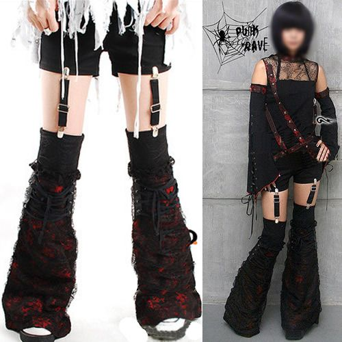 3a99d1fa17916 Women Black and Red Lace Gothic Fashion Shorts + Leg Warmers Clothing  SKU-11404038