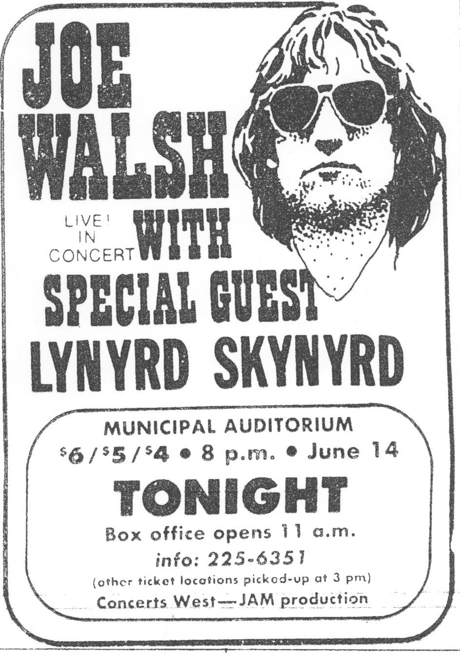 Lynyrd Skynyrd 1974 ~ Joe Walsh & Barnstorm play a concert in Municipal Auditorium. Lynyrd ...