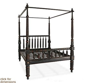 mecox gardens - four poster turned spindle bed frame detail - ok