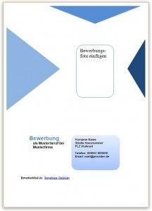 Bewerbung Deckblatt Vorlage und Muster | bewerbung | Pinterest