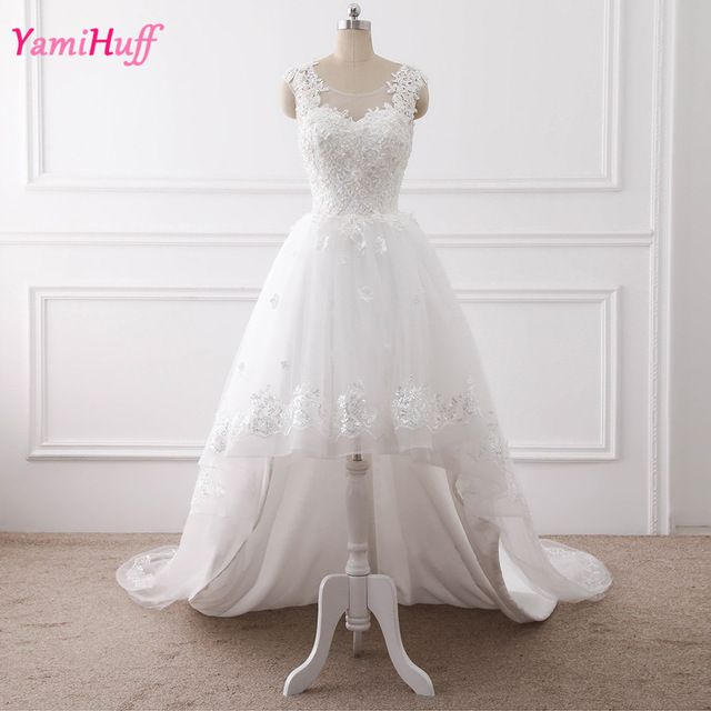 Hippie Lace High Low Wedding Dresses Short Front Long Back Cheap Beach Pearl Bridal Wedding Gowns Wedding Dresses High Low Short Wedding Dress Wedding Dresses