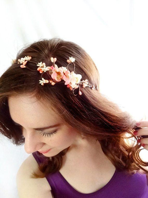 Cherry Blossom Headband Fairy Vine Bridal Pink Floral Head Wreath Pearl Twigs 62 00 V Pink Flower Hair Floral Accessories Hair Flower Hair Accessories