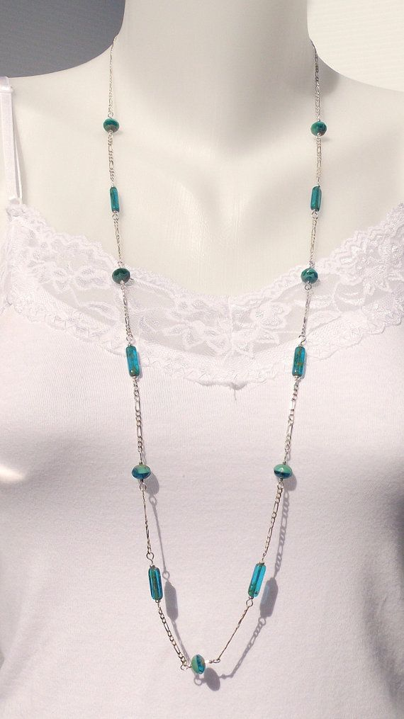 Teal Bead Long Necklace by ACatsEye on Etsy