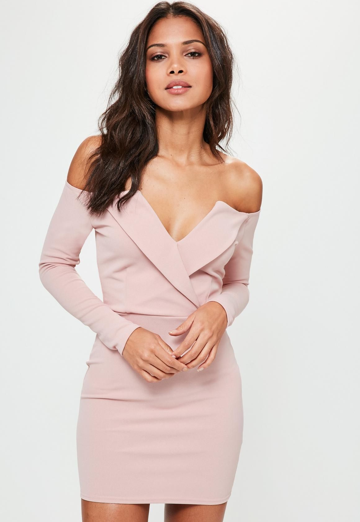 42cbff4fa604 Missguided - Pink Bardot Foldover Wrap Dress