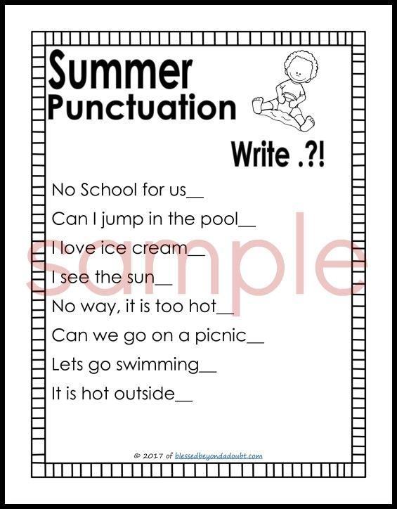 Free Punctuation Worksheets Summer Edition Arnav English