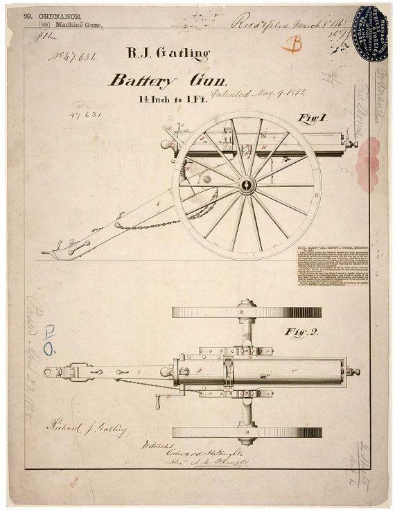 Patent Drawing for a Gatling Gun Civil War 1865 Blueprints - new blueprint gun art