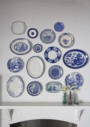 Accessories Plates as Wall Decor Remodelista - Ceres Home Decor & blue willow and other blue transfer ware... | I Love Blue Willow ...