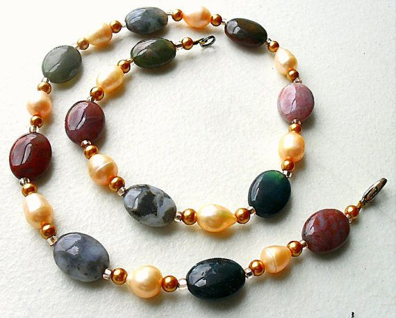 Pearl and Jasper Bead Necklace Genuine Pearl by Loreesjewelrybox, $25.00