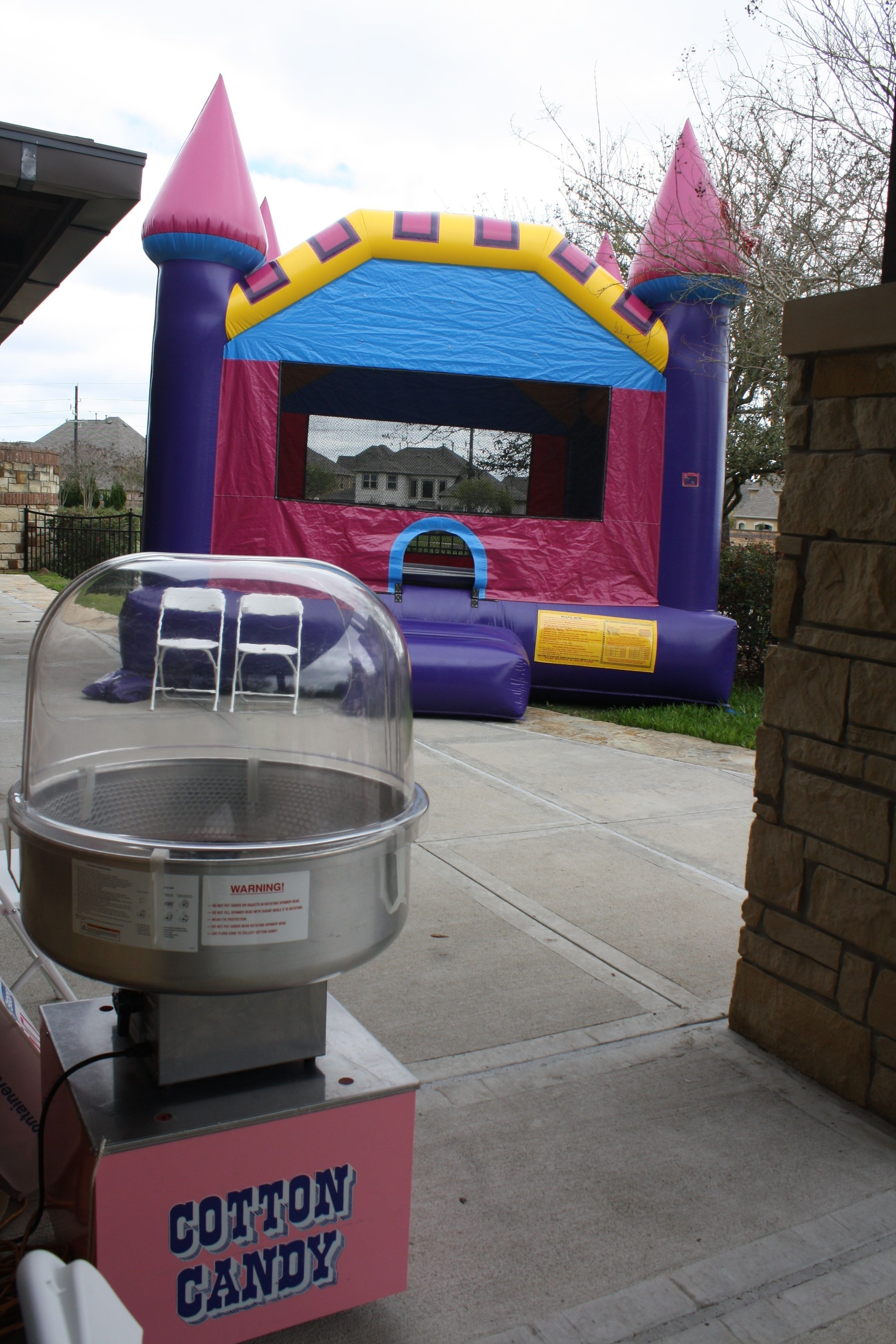 Pink Gold Princess Party Bounce House And Cotton Candy Machine From All Around Houston TX
