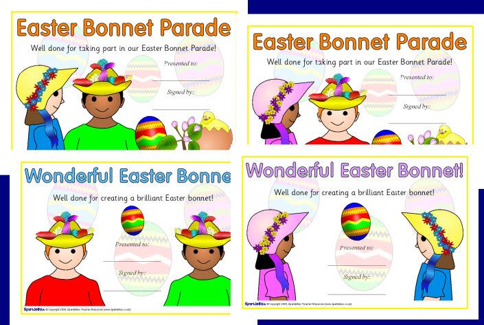 easter bonnet certificate certificates bunny bonnets parade sparklebox egg printables hunt