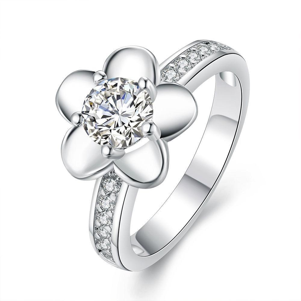 AAA Multi-size Shiny White Zircon 18K Rose Gold Plated Wedding Women Rings Gift