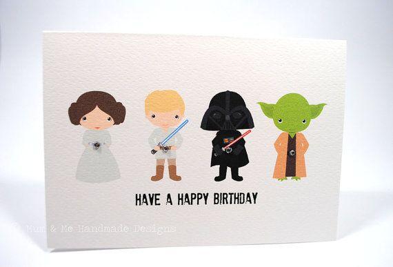 Happy Birthday Card Boy Star Wars HBC117 By MumandMeDesigns