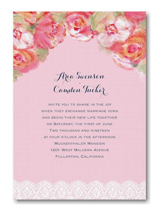 Roses and Lace Wedding Invitation