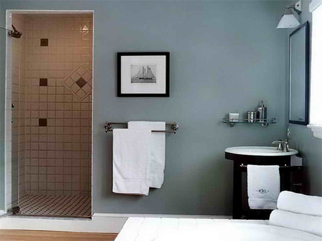 Photographic Gallery Bathroom Design Blue Brown Bathroom Decor Grey Wooden Door Bath Room White Small Towel Large Creative Mat Rectangle Mirror Navy Tile Floor Curtain Bedroom