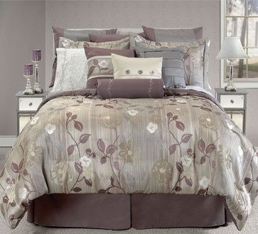 Gray Plum And Taupe Bedding Via Houzz Com Modern Bed Set Bed Comforter Sets Contemporary Bed