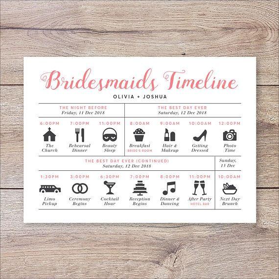 Bridesmaids Timeline Program, Wedding Timeline Bridesmaids