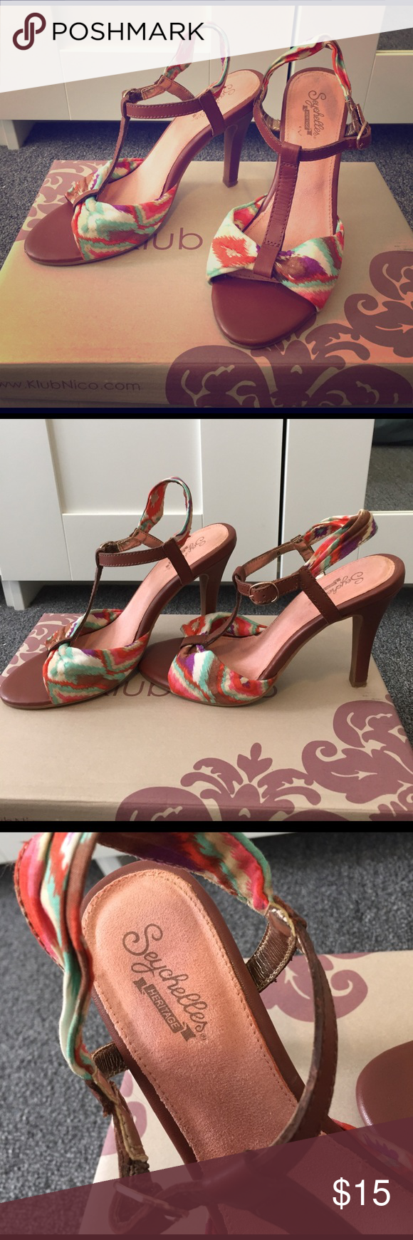 """Summer Heels Fun colorful summer heels with a leather buckle strap, fabric ankle strap and fun pattern. Original box not included. 3"""" heel with minimal wear.  Slight scuff in front right toe. Seychelles Shoes Heels"""