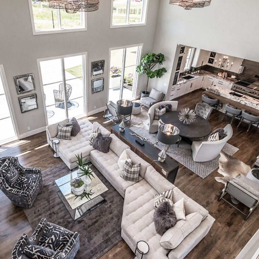Interior Design Home Decor On Instagram Birds Eye View Is Always A Beautiful View Home Interior Design Living Room Design Modern Double Height Living Room View home decor for living room table