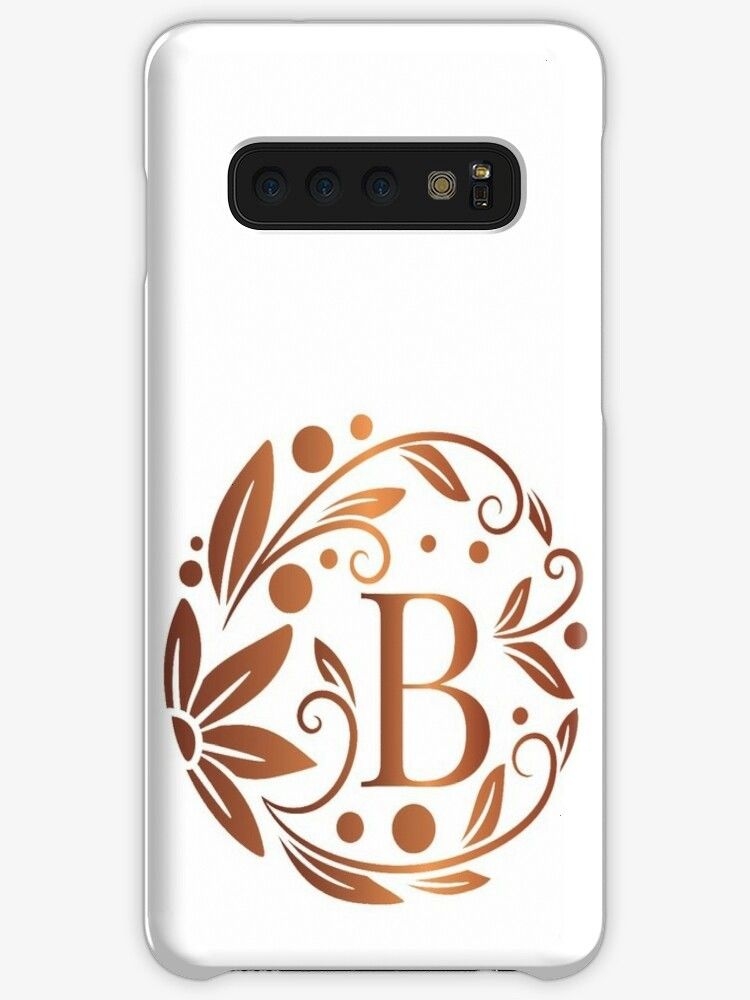 rose gold monogram with initial letter B Luxury leaves pattern on a white background Floral frame Case Skin for Samsung Galaxy by Annartlab Personalized rose gold monogra...