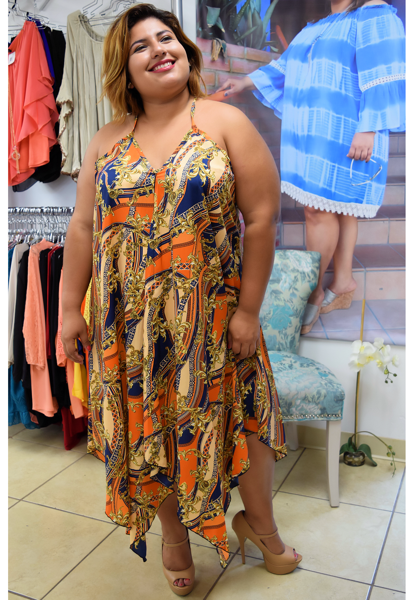 Plus size the sound oh her dressgold big girls can wear it too