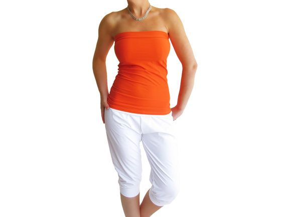 66d12c19c348e Orange tube top sexy bandeau strapless top fuzzy inside lycra strapless  women top crop top jpg