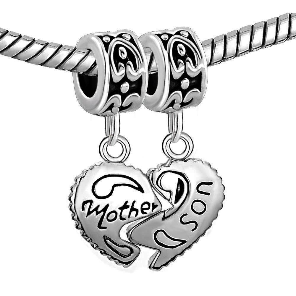 Sterling silver heart mother son charm beads fits pandora bracelet