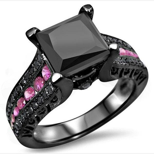3.0CT Princess Cut Black Diamond Rhodium Plated Engagement Ring