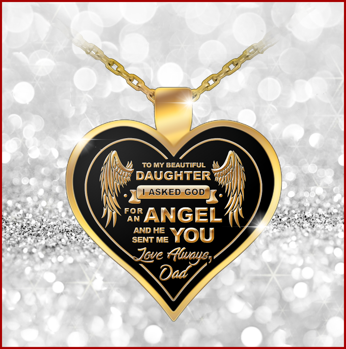 Always Remember That Daddy Loves You 18 K Gold Plated Personalized Engraving Girls Necklace Pendant to My Daughter Heart Xmas. Meaningful Gift for Her//Children On Birthday